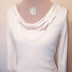 CYRUS Off White Fringe Layered Collar